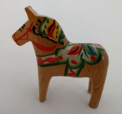 "Vintage 3"" NILS OLSSON DALA HORSE Natural Sweden with sticker"