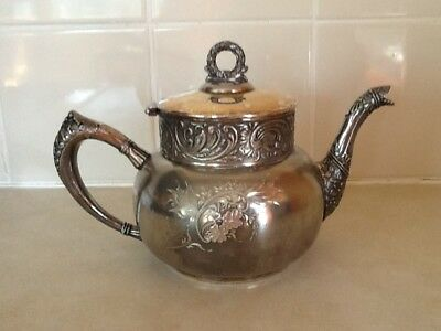 Vintage Benedict Mfg Co Quadruple Silver Plated Teapot