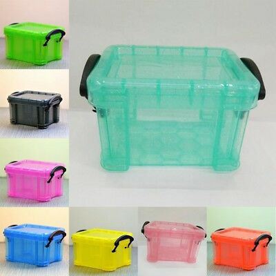 Mini Plastic Storage Bo Stackable Tub With Lid Handles Bins Container Colored