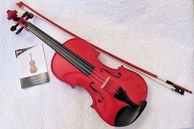 Violin 4/4 Full Size Stunning Red Color - Complete with Bow, Case, Rosin, Straps
