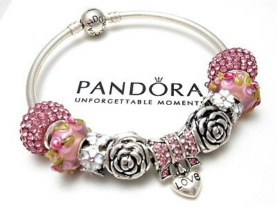 Authentic Pandora Silver Bangle Bracelet With Mom Family Love European Charms...