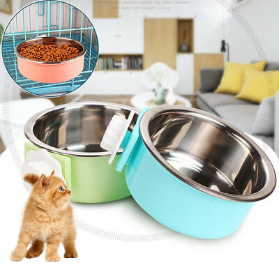 Pet Dog Cat Feeding Bowl Water Can Food Feeder Tool Hanging Stainless Steel Bowl