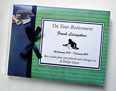 Personalised Retirement (Green And Navy) Guest Book - Any Colour