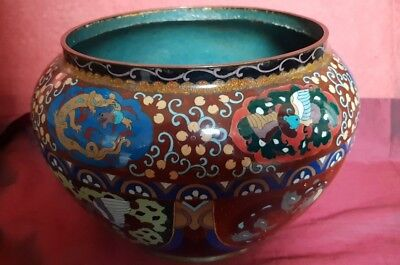 Large Cloisonné Jardiniere In Very Good Condition - Early 20th Century