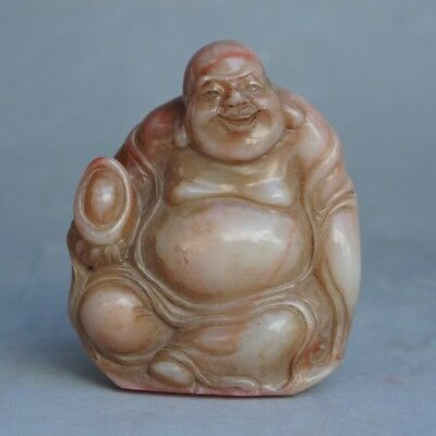 Chinese Exquisite Hand-carved Luohan carving Shoushan Stone seal statue