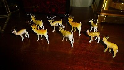 Vintage Lot of 9 Miniature Reindeer Christmas Village
