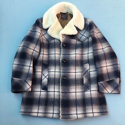 Vintage Pendleton Wool Coat Jacket Ghost Plaid Made In USA 50s 60s 70s Flannel