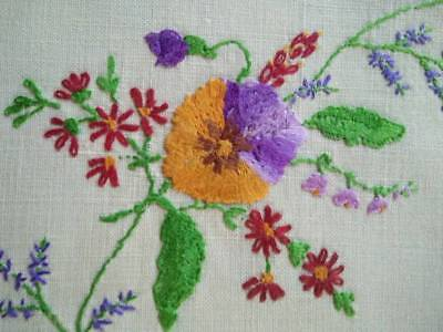 Beautiful Pansies/Pansy   ~ Vintage Hand embroidered Centrepiece