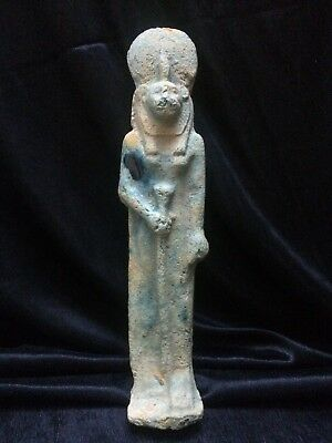 ANCIENT EGYPTIAN FAIENCE USHABTI Statue Shabti King Sakhmet Goddess 1250-1500 Bc