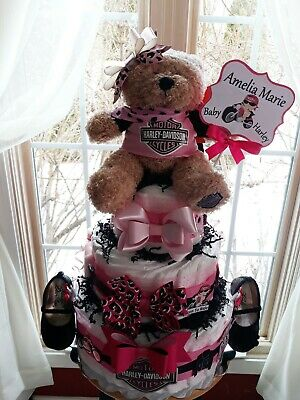 Pink Harley Davidson Theme 3 Tier Diaper Cake With Ballerina Baby Shoes