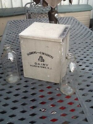 Vintage 1950's Farmers And Consumers Dairy Aluminum Milk Box & (2) Milk Bottles.