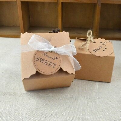 10/50Pcs Kraft Paper Baby Shower Favor Gift Box Candy Boxes Wedding Party Decor