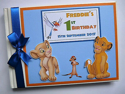 Personalised Lion King Simba & Nala Birthday Guest Book - Any Design
