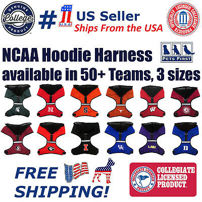 NCAA Harness with HOOD for Dogs & Cats. 40+ College teams available in 3 sizes