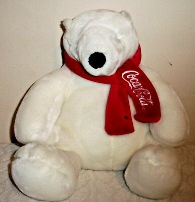"BOYDS Coca Cola 10"" Polar Bear with Red Scarf Seated sitting"