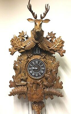 Cuckoo Clock Vintage  LG Wooden Not Working as is for Parts Repair or Decoration