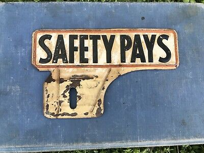 Vintage Safety Pays Phillips 66 License Topper Gas Oil Advertising Patina