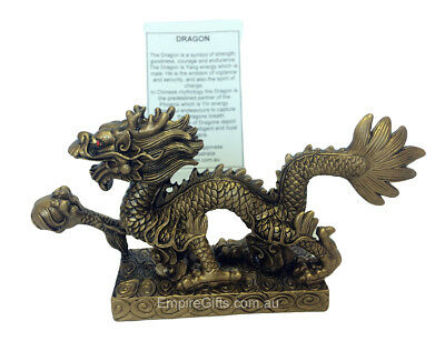 1pc Chinese Dragon Holding Pearl of Wisdom Statue Feng Shui