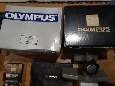 Lot Olympus OM accessories lenses, AX, remote sensor, grip, flash