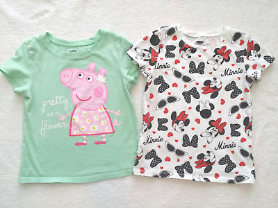 Old Navy Toddler Girls Lot of 2 Graphic Tee T-shirt 4T Minnie & Peppa