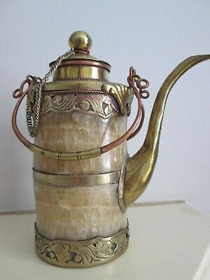 Decorative Small Antique Middle Eastern Dallah Coffee Pot Onyx Stone Brass