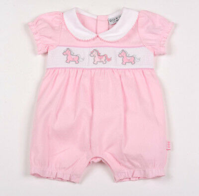 Baby Girls Adorable Spanish Style Pink Smocked Embroidered Ponies Cotton Romper