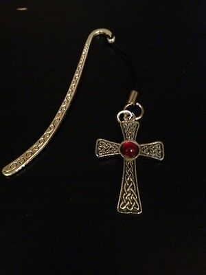 Celtic Gem Cross Cgcpp Red Pattern bookmark 3D English pewter charm