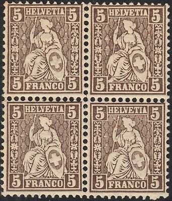 Switzerland 1881 5c Seated Helvetia Block of 4 MUH