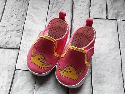M&S Canvas Pram Shoes Dinosaur 3-6 Months Summer Marks and Spencer Baby Girl