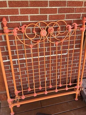 Antique CAST IRON BED RAILS Tapered Pin Twin Size frame drop-in eyelet