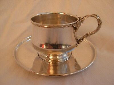 Antique French Sterling Silver Coffee Cup & Saucer,art Nouveau.