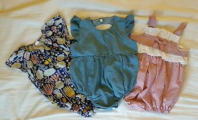 NEW 3 x Baby girl rompers suits Size 0-1