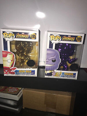 Funko Pop PopCultcha Con Exclusive CHROME Thanos Iron Man Avengers Infinity War