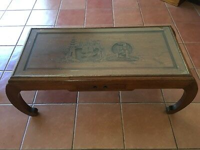Chinese Coffee Table Antique Glass Top Hand Carved From Seventies