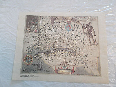 Vintage Map of Virginia by John Smith 1612 Reproduction Antique Print