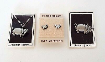 Vintage Pig Jewelry Set AJR Pewter Pin Necklace Pierced Earrings 4 Piece LOT A