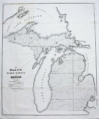 1849 Michigan Map Upper Peninsula Lake Superior Keewenaw Isle Royale ORIGINAL