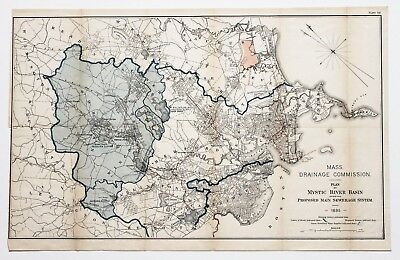 1885 Boston Map Mystic River Basin Cambridge Revere Winthrop Woburn ORIGINAL
