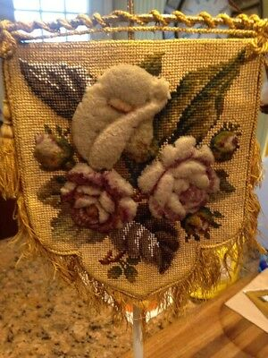 Gorgeous Antique Victorian Beadwork Beaded Needlepoint Cut Wool Work Plushwork