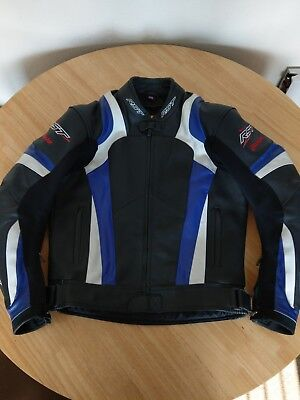 RST Blade Leather Motorcycle Motorbike Jacket Black / Blue / White