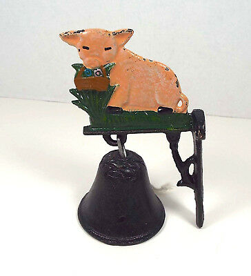"Antique Hand Painted Cast Iron Pig Bell Wall Mount 5"" Farmhouse Iowa Primitive"