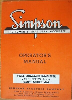 Simpson Operator's Manual for Model 260