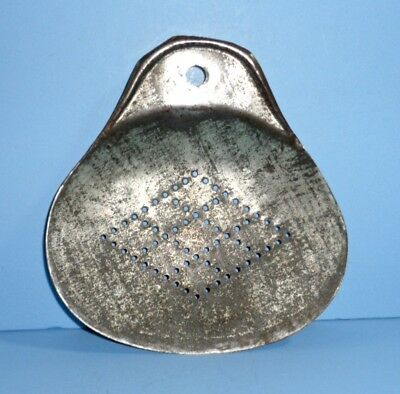 Old Primitive Punched Tin Hand Held Milk Cream Butter Skimmer Dairy Farm Tool