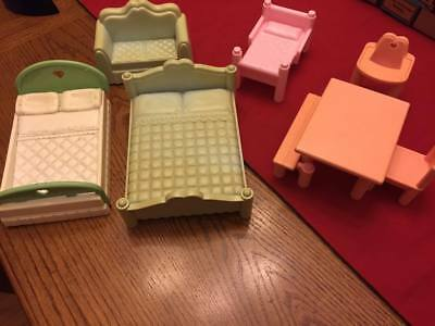 Vintage Playskool Victorian Dollhouse Replacement Doll House Furniture Lot