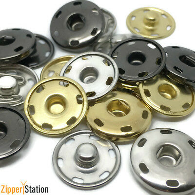Metal Snap Fasteners - Poppers - Press Studs. Black, Silver, Gold 15mm to 35mm