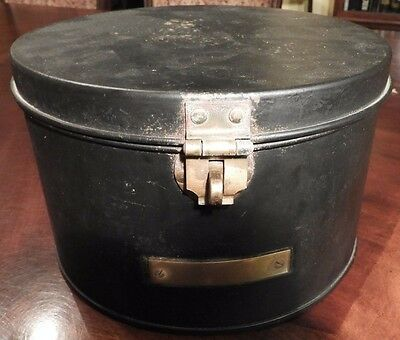 Black Metal Hat Box with Brass Turn Lock & Nameplate