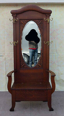 Antique Solid Oak Hall Tree w. Mirror Rack Seat Bench Stand