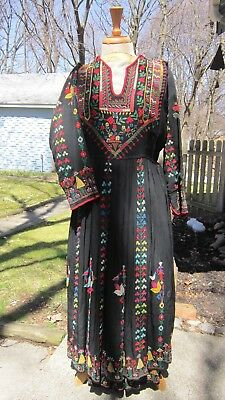 vintage hand embroidered bohemian dress with lovely unique colorful designs.