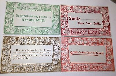 Vintage postcards RARE lot of 4 DIPPY DOPE sayings comic faces posted 1910 &11