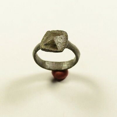 Rare Roman To Medieval Bronze Ring W/ Crown Shaped Bezel - Wearable